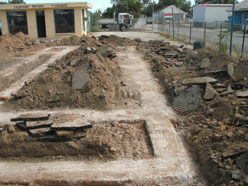 Excavated foundations of the police station.