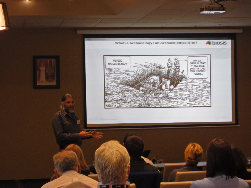 Gary Vines, Senior Historical Archaeologist, presenting to the Shepparton session