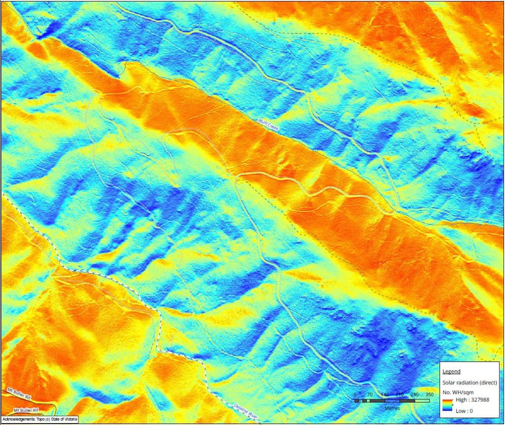 Figure 3 - Direct solar gain across mountainous areas
